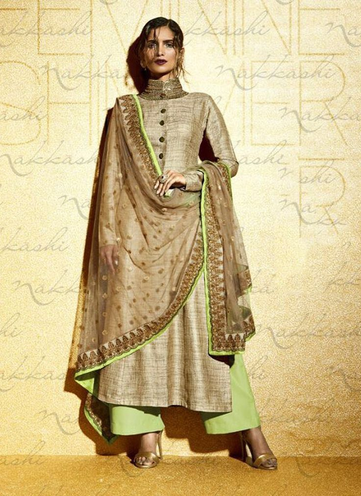 Fashion and pattern could be at the peak of your magnificence once you attire this beige khadi designer suit. The embroidered and resham work seems chic and great for any get together. Comes with matc...