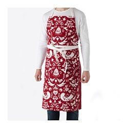 IKEA - VINTER 2016, Apron, Adjustable neck-band fits most.A cotton/linen blend which combines the softness of cotton with the subtle sheen and firmness of linen.Practical pocket for storing small items.You can use the waistband for hanging barbecue tongs or a kitchen towel, for example.The loop makes it easy to hang the apron when not in use.