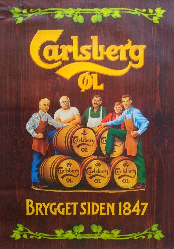1980s Carlsberg Beer Advertisement - Original Vintage Poster
