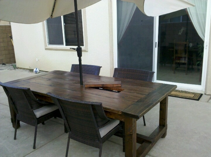 Outdoor farmhouse table with built in coolers cool ass for Patio table with built in cooler