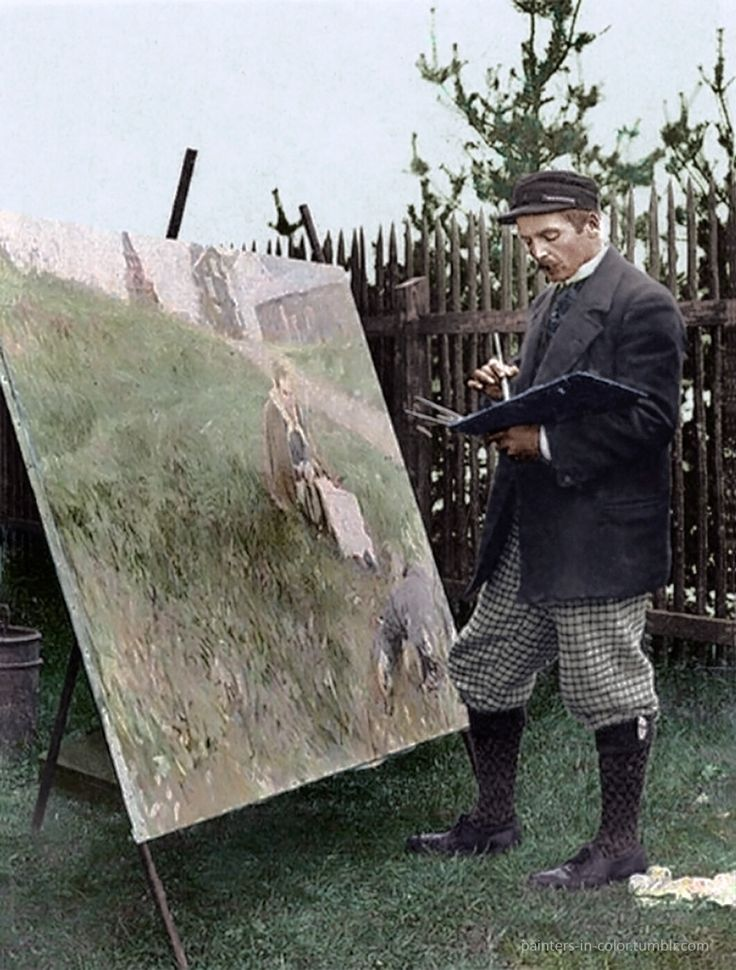 Famous Swedish artist Anders Zorn working on his painting Mora Marknad (The Mora Fair) 1892.  Colorized by painters-in-color