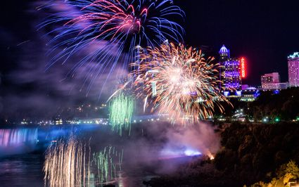 Red fireworks over Niagara Falls