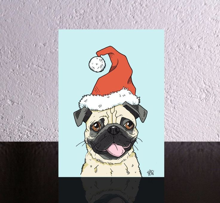 4 Dog Christmas Cards with a Pug in a Santa Hat. Dog Xmas card pug in santa hat. #Caricature