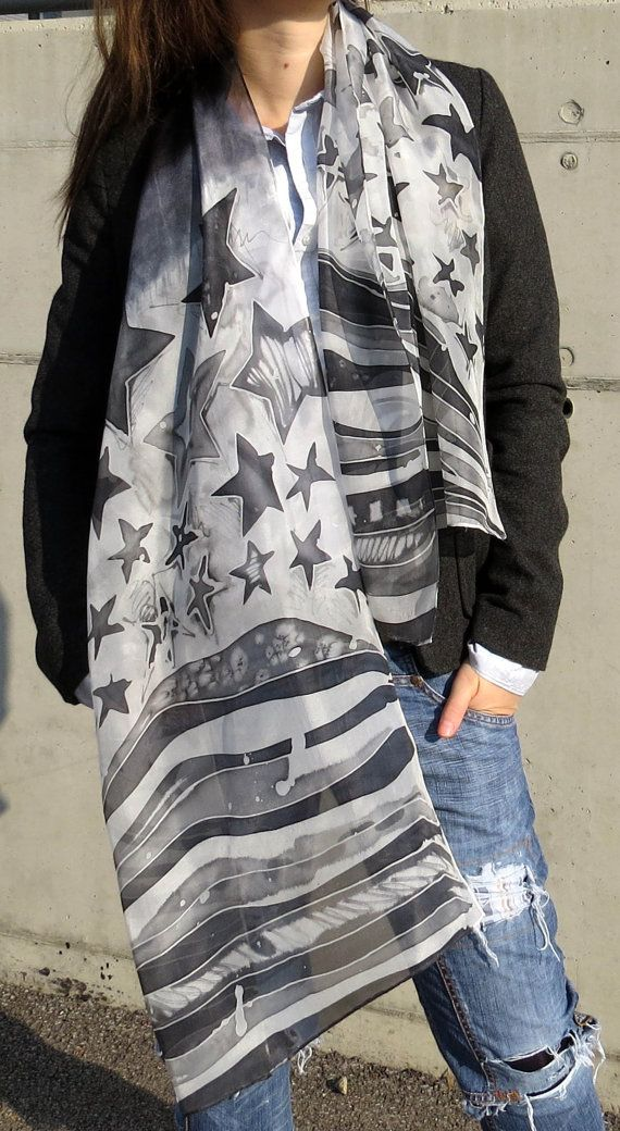 Silk Scarf black and white. Us Flag Scarf. Abstract by SilkRevolt