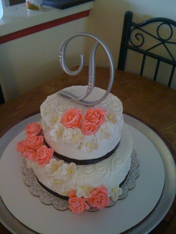 Wilton Cake Class Buttercream Recipe : Wilton course 2: Flowers. Wedding shower cake - Wedding ...