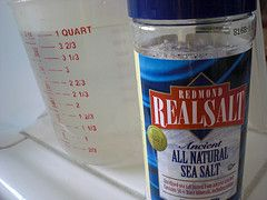 Salt Water Flush Recipe - 2 Tea spoons of Natural Sea Salt - Non- Iodized only! - 32oz. (1-quart) of room temperature or lukewarm water  Mix the 2 ingredients together and just drink it down.
