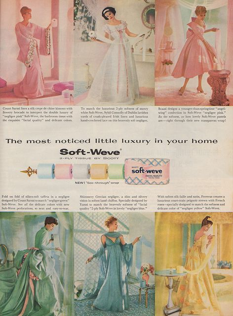 Soft-Weve, 1959, via Flickr. Soft-Weve wins for most stylish toilet paper ad campaign EVER. These fabulous ads went on for years. Designer outfits on models holding loo rolls. Nice! 1959.