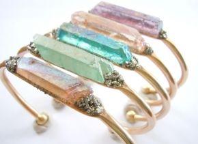 Springtime – Raw Crystal Cuff Bracelet – Boho Chic