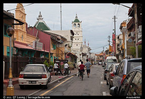 Harmony Street, featuring Hindu and Chinese Temples and a mosque. Malacca City, Malaysia
