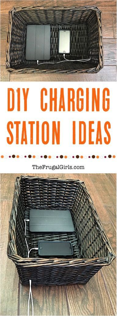 DIY Charging Station Ideas + Smarter Ways to Charge your Phone and Tablet! ~ at TheFrugalGirls.com
