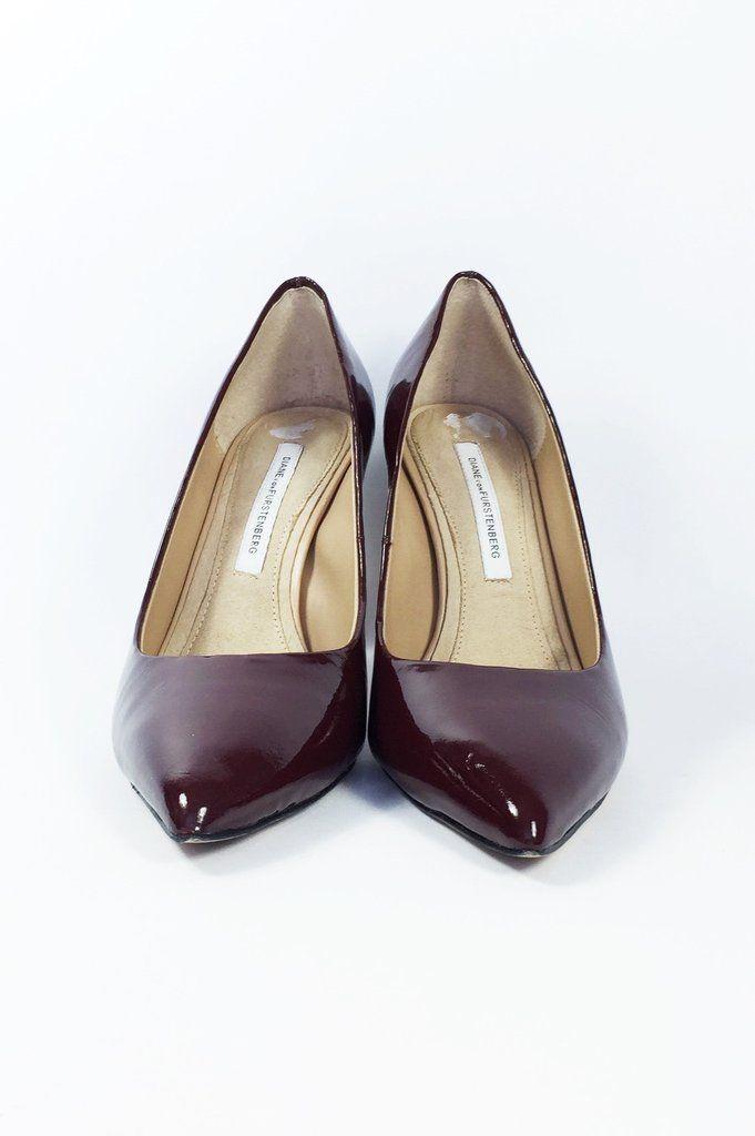 Escarpins bourgogne en cuir vernis - Diane von Furstenberg