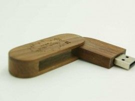 Swivel wooden custom usb drive
