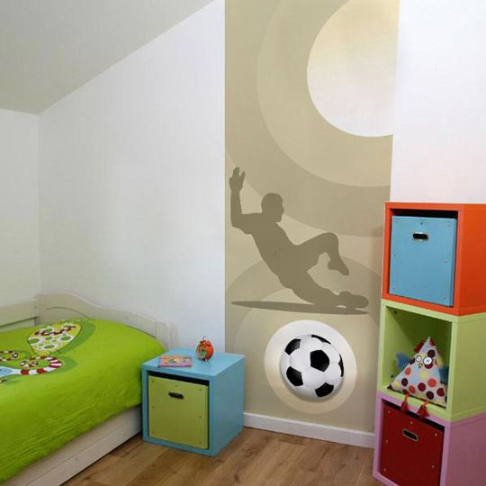 Mural futbol 2 deco habitaciones chicos pinterest for Mural para habitacion