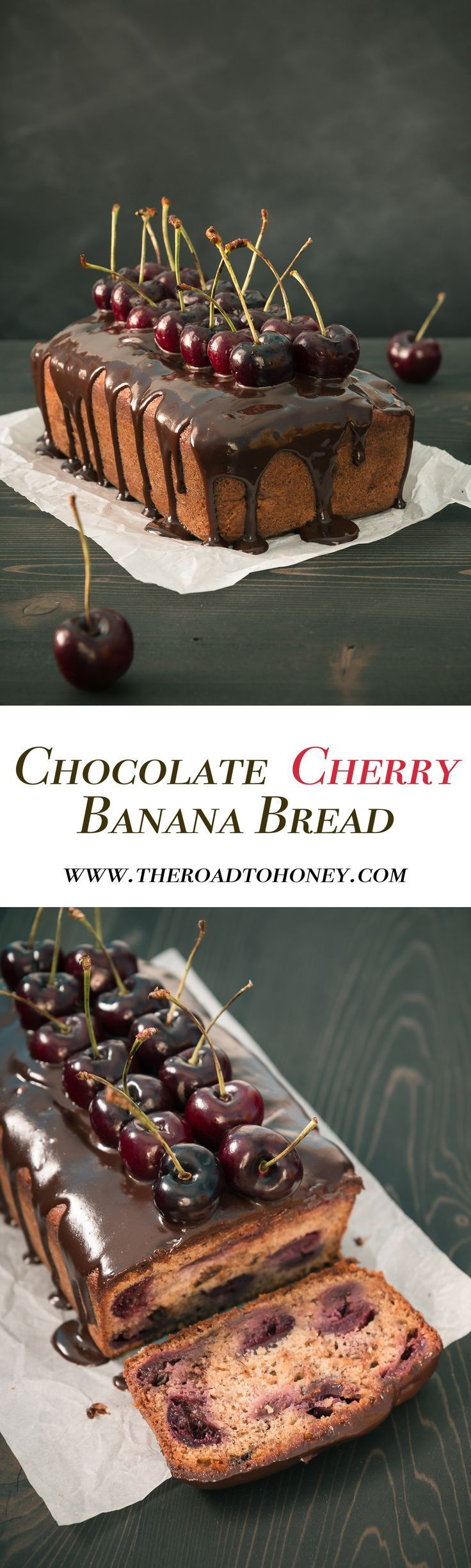Chocolate Cherry Banana Bread - This elegant Chocolate Cherry Banana Bread is moist & delicious & sure to impress with juicy cherries, bits of chocolate, & a chocolate honey glaze.  Click for RECIPE.
