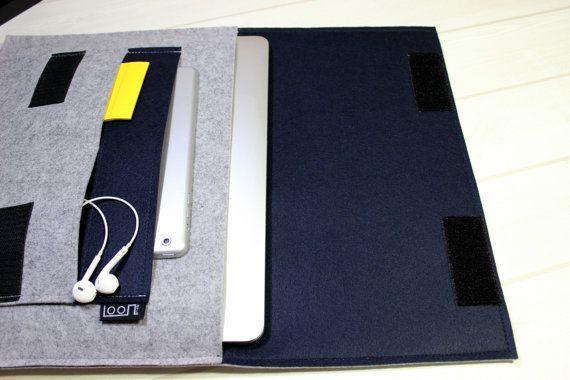 Simple laptop sleeve, navy laptop case, 13 inch laptop case, minimal laptop pouch, felt laptop sleev