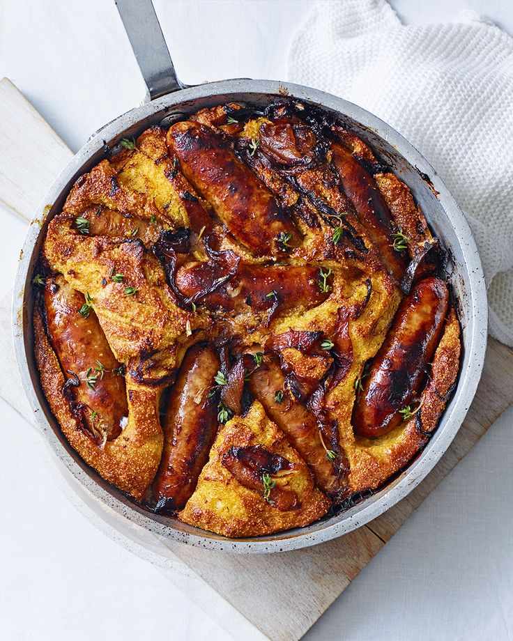 We've put a twist on the classic toad in the hole by baking the sausages in a beautifully light and fluffy cornbread. Serve with veg and gravy for an easy weeknight meal.