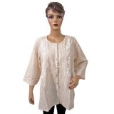 Womens Boho Fashion Embroidered White Blouse Cotton Tunic Top Medium Size (Apparel)  #Dress