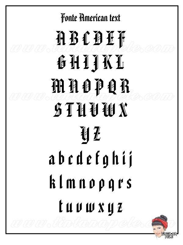 Letra para tattoo: Fonte American Text