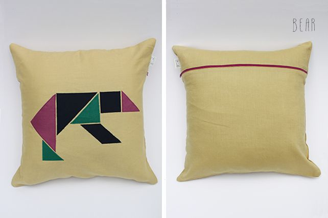 Bear Linen Cushion by PINT SIZE GOODS (The Tangram Tribe Collection)