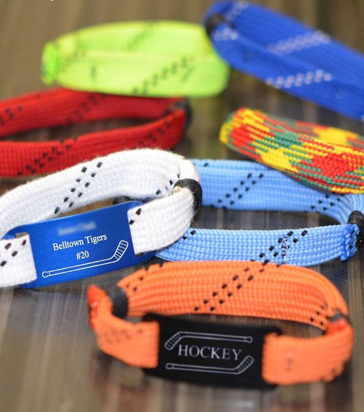 Custom Hockey Lace Wrister Bracelet! Makes a great hockey team gift.