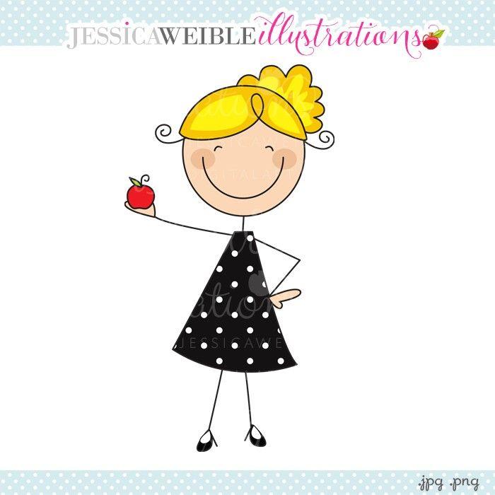 Black Polka Dot Dress Teacher Stick Figure Drawing