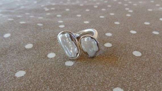 Duofresh water pearls. Silver ring 925tree size by ArtisticBreaths