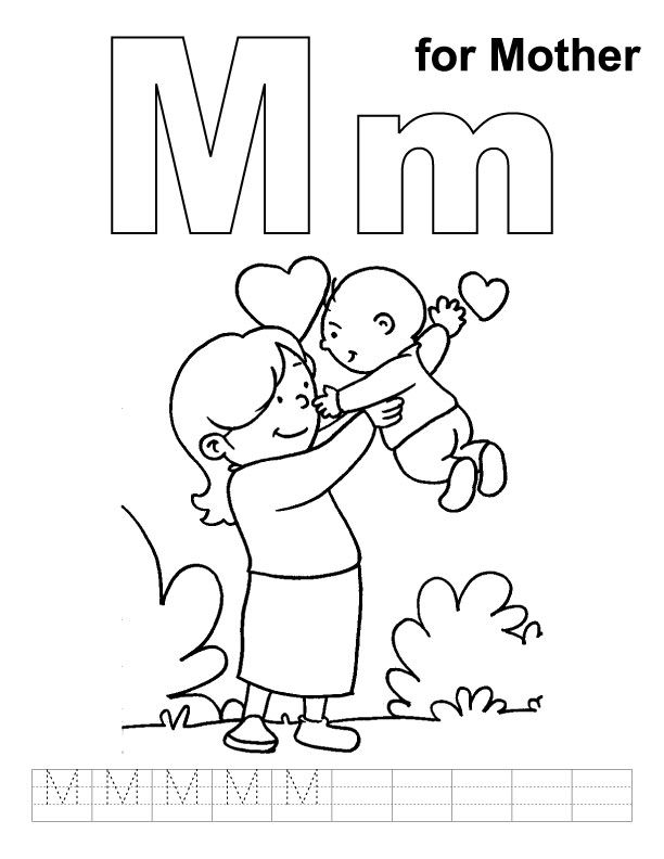 M for mother coloring page with handwriting practice
