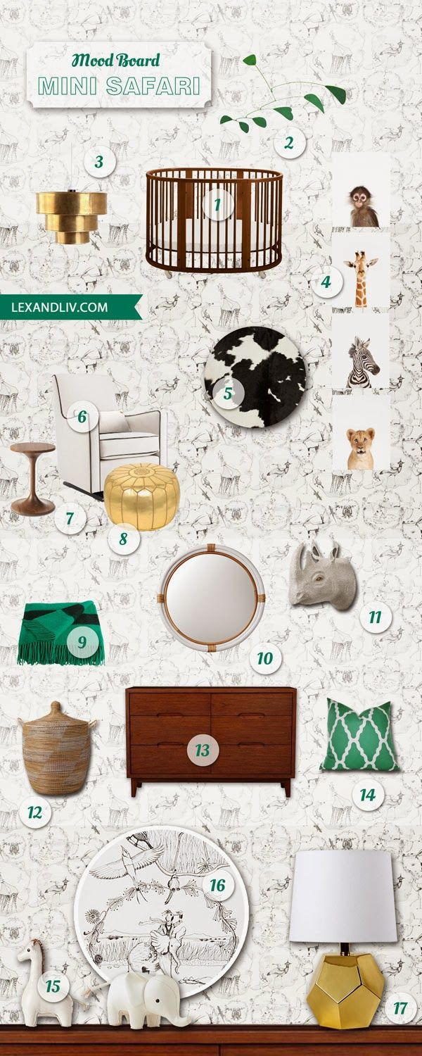 Mini Safari Nursery Inspiration board featuring Stokke Sleepi in Walnut