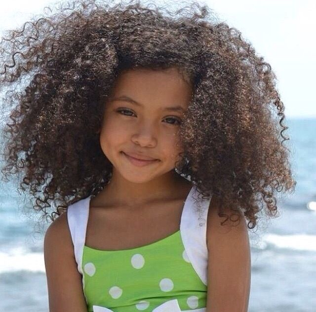 cute curly fro beach