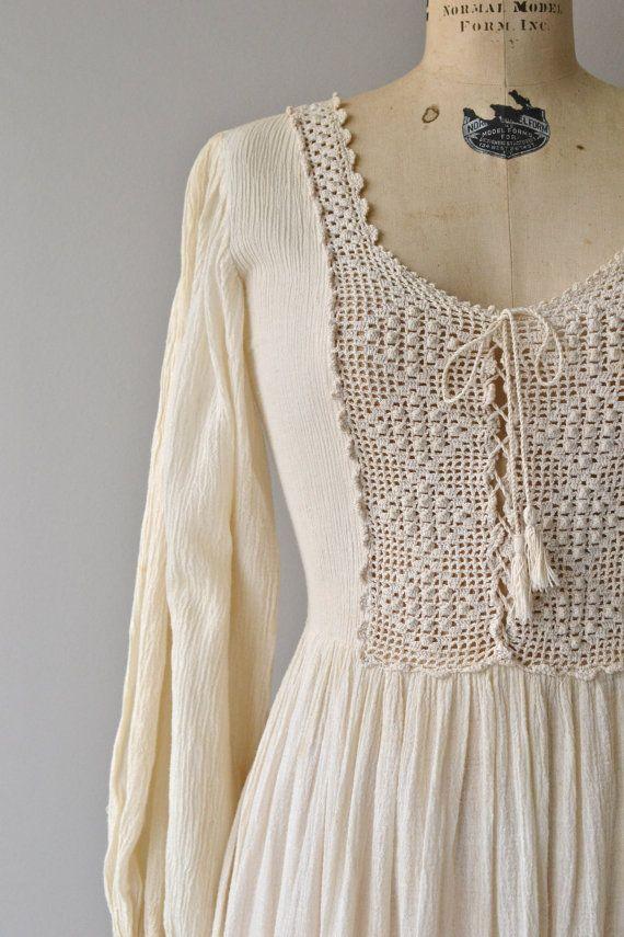 Tamilpais dress vintage 1970s dress cotton gauze by DearGolden