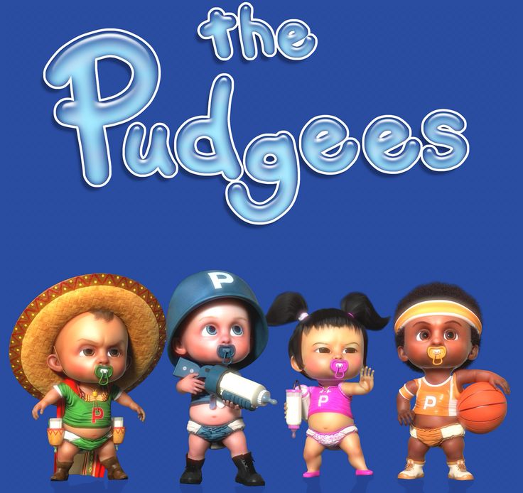"The Pudgees are a team of talking baby superheroes, who use their bottles, diapers, pacifiers, rattles, wet wipes, and tricked-out baby strollers-- along with their cute baby ways and means-- to save the world from the villainous Ed Vince Able and his renegade mob of teenage ""Baddies."" www.thepudgees.com © & ™ Latria Holdings Pty Ltd"