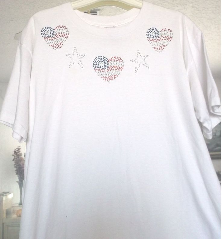 T-Shirt Hearts Bling Short Slv Fruit Loom Womens Size L White Cotton/Polyester   #FruitoftheLoom #EmbellishedTee