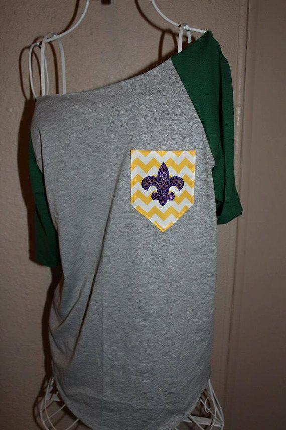 Mardi Gras Pocket OfftheShoulder Shirt Chevron by SewSnazzybyBrook, $28.00
