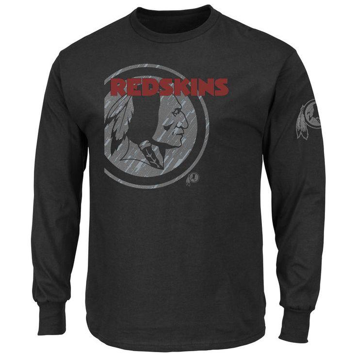 Washington Redskins Majestic Big & Tall Elite Reflective Long Sleeve T-Shirt - Black