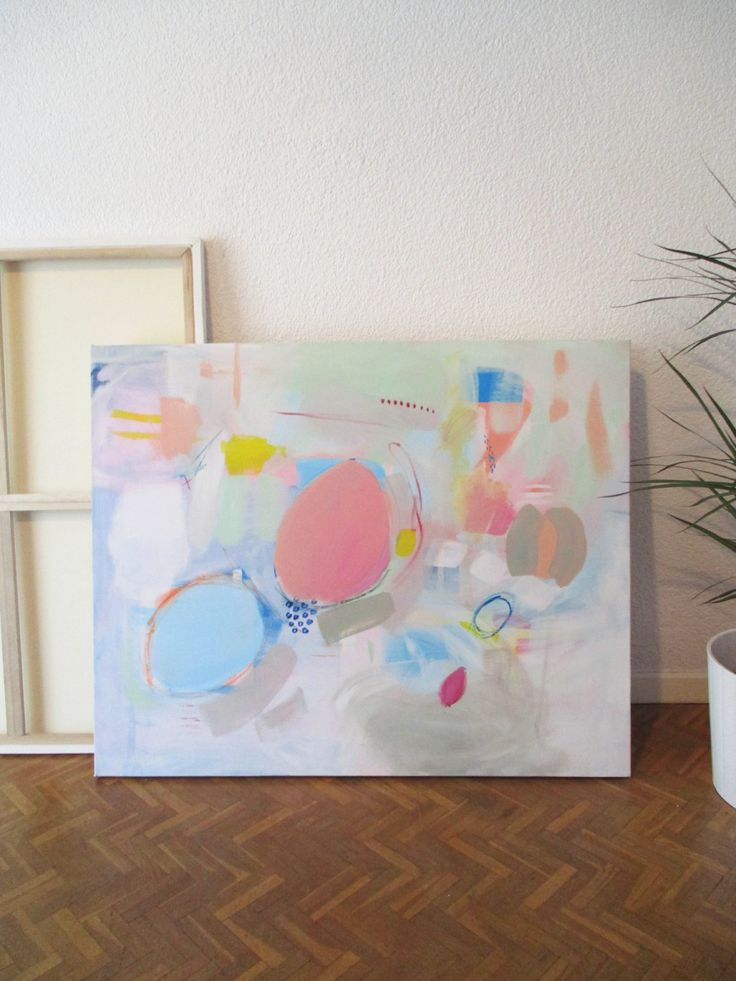"""Original Large Acrylic Painting, Modern Abstract Art, Pastel Colors Painting, Multicolor Original Painting, """"UNDERWATER II"""" by HolaGabrielle on Etsy"""