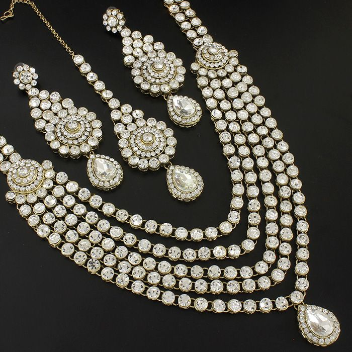 5 Layer Cz Kundan Bridal Long Necklace @ Indiatrend For $56.99USD
