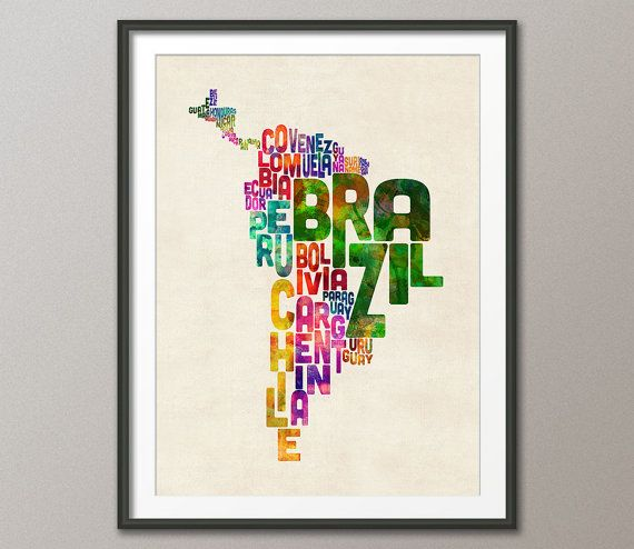 South America Map Typography Text Map of Central by artPause