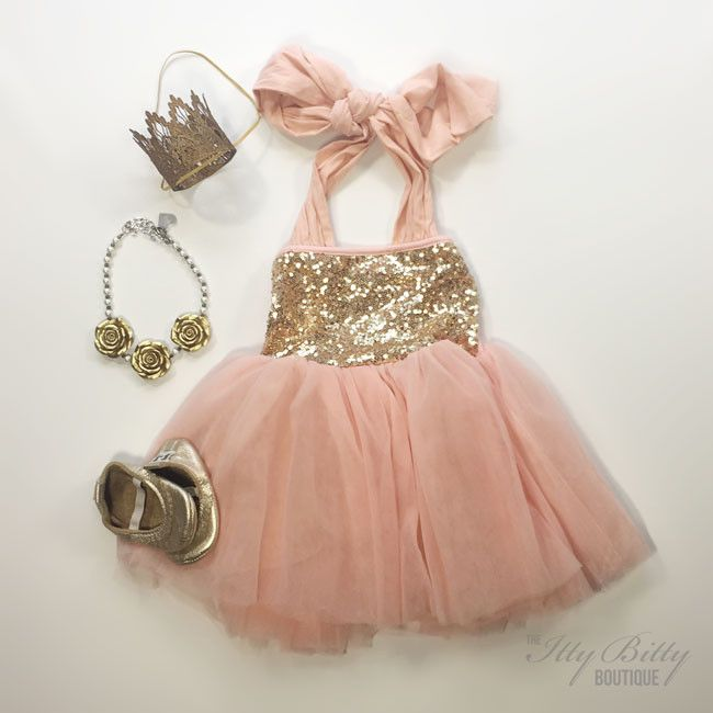 Kids Blush Pink tulle with Gold Sequins. This toddlers dress is perfect for birthday parties and feeling pretty in!