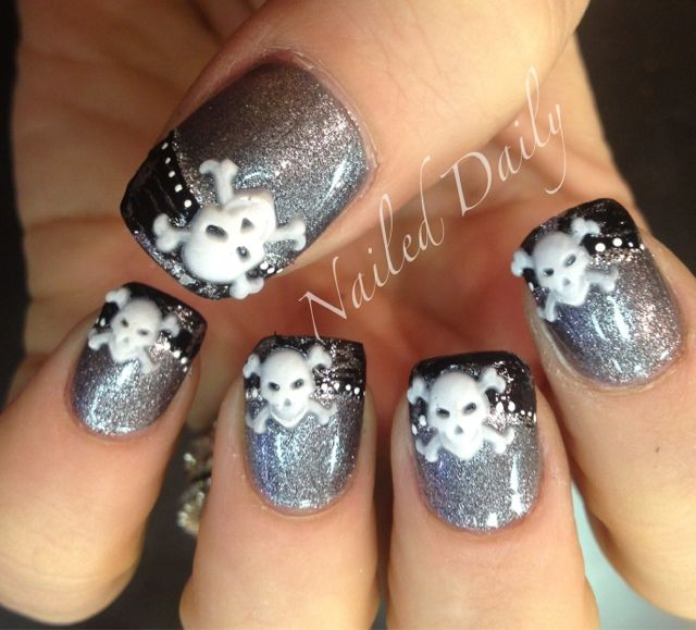 Nailed Daily - skull and crossbones nail art