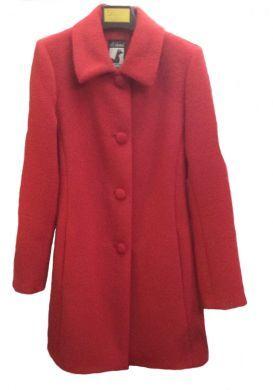 Roter Damen #Wintermantel, Mantel aus 100 % peruanischer Baby #Alpakawolle