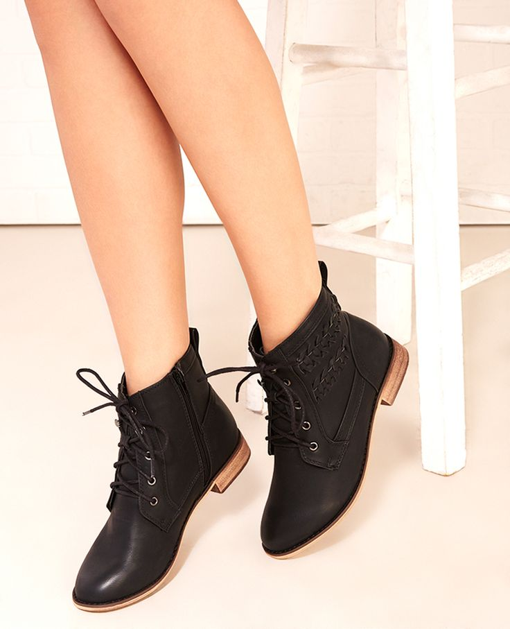 Lace-Up Combat Booties With Braid Detail | Wet Seal