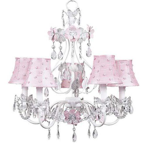 Chandelier 5 Arm Flower Garden Pink & White w
