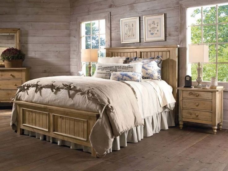brown-polka-dot-curtain_rustic-country-bedroom-decorating-ideas_brown-framed-bed_white-painted-nightstand_bedding-cottage_simple-square-brown-wood-nightstand-design-970x728.jpg (970×728)
