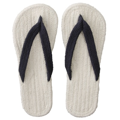 インド綿ルームサンダル/生成×ネイビー・L    cotton Japanese style room sandals (or slippers if you prefer)