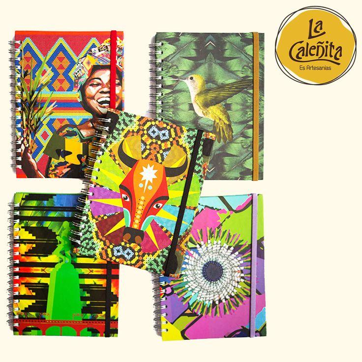 Cuadernos artesanales y con mucho diseño con ilustraciones que los vuelven únicos. Una selección de 5 modelos con mucho espíritu étnico. ¡Para que te den más ganas de escribir! Además, de llevar un pedacito de Cali y Colombia contigo. 📚💖 #ArtesaniasTipicasDeColombia #ArtesaniasYDecoracion #LaCaleñita