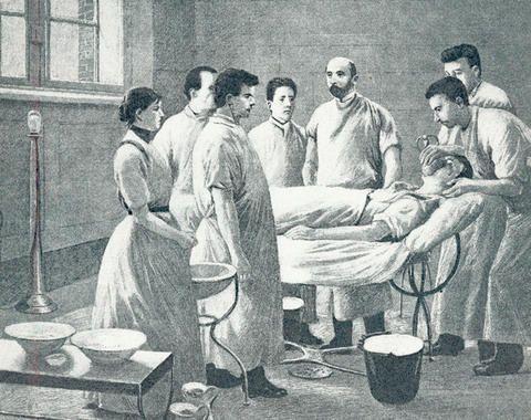 Den nye operationsstue på Københavns Kommunehospital 1888