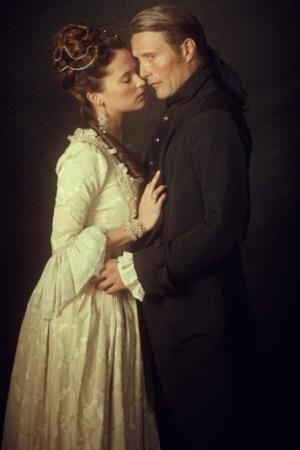 """Caroline Mathilda (Alicia Vikander) and Doctor Struensee (Mads Mikkelsen) in """"A Royal Affair"""""""