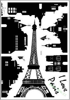 ČERNÉ - samolepky na zeď | Eiffelova věž | TIPIN