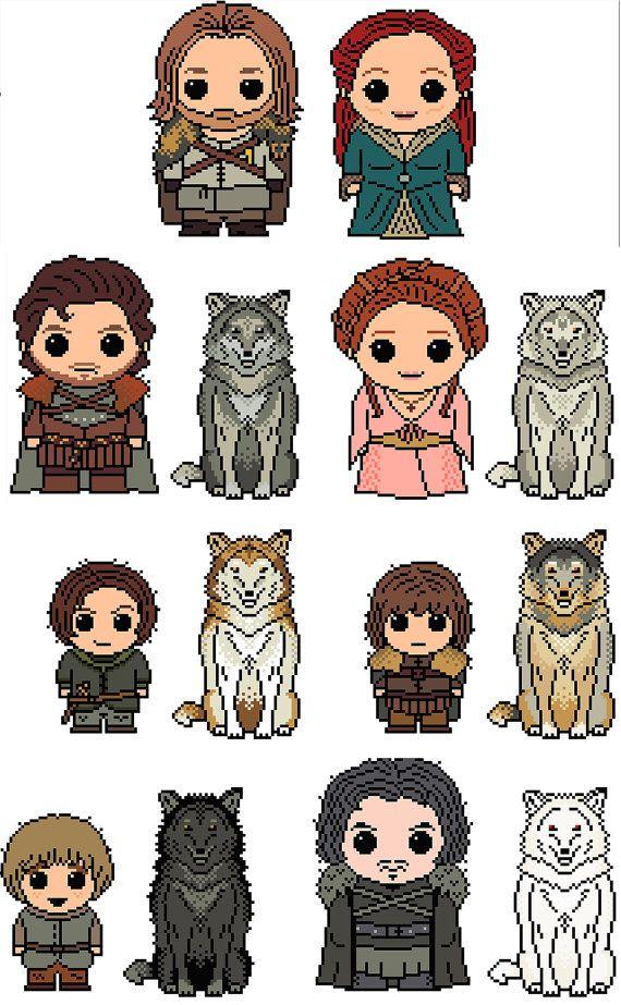 Game of Thrones: Stark Mega Pack (Ned, Catelyn, Robb, Jon Show, Sansa, Arya, Bran, Rickon PLUS 6 Direwolves) PDF Chart Pattern