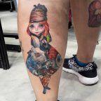 Alice in Wonderland collage tattoo by Greta